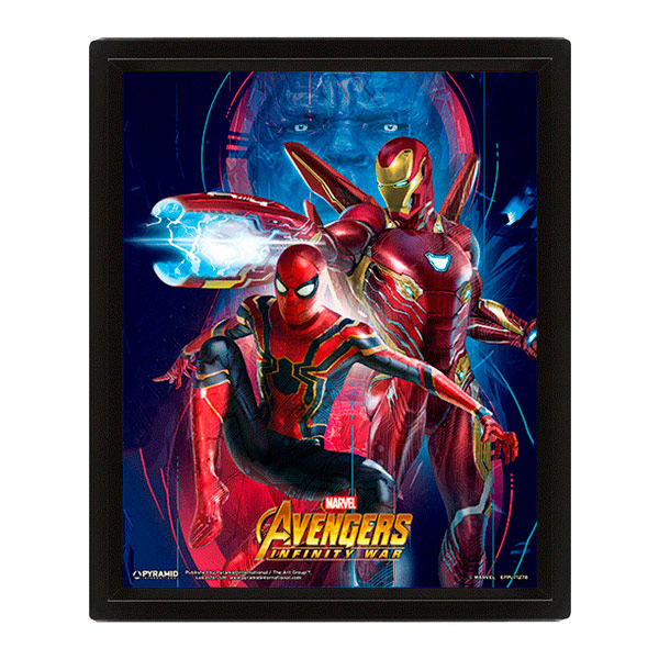 Póster 3D Ironman y Spiderman