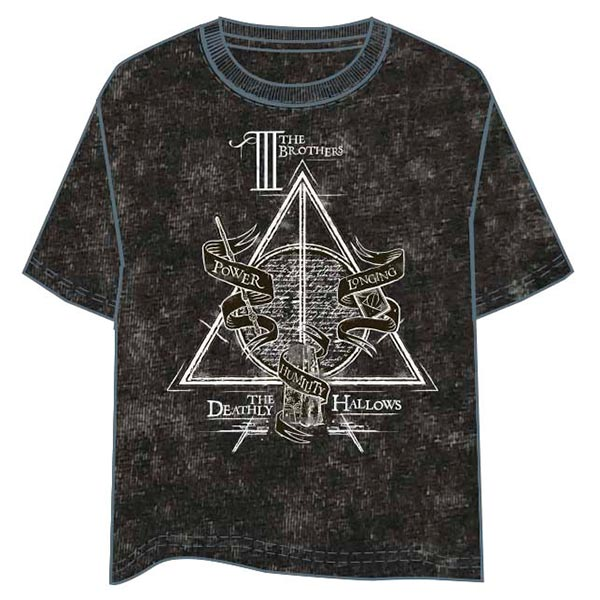 Camiseta Chica Deathly Hallows - Negro Vintage