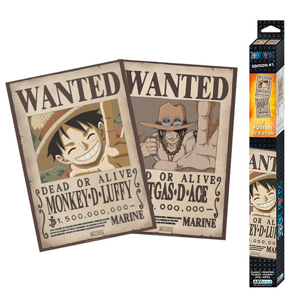 Set Dos Pósters One Piece Wanted Luffy & Ace 52x35