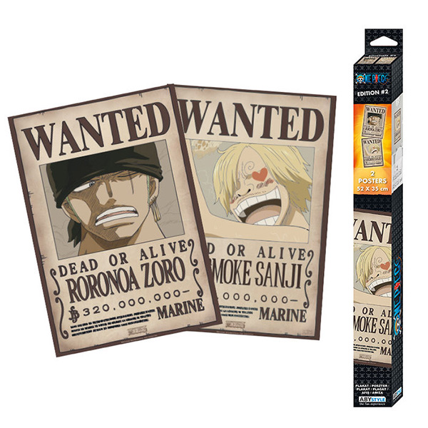 Set Dos Pósters One Piece Wanted Zoro & Sanji 52x35